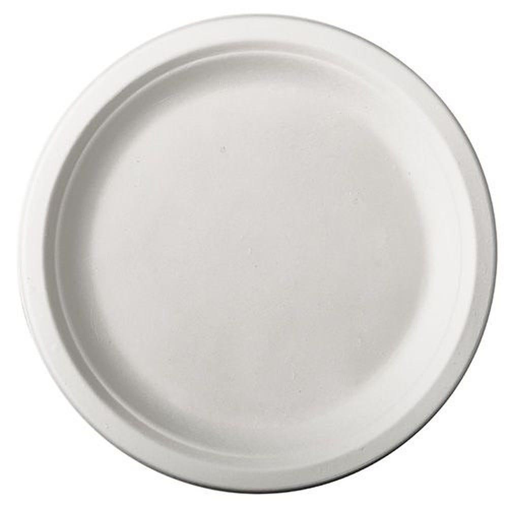 Assiette en canne à sucre ''pure'' ronde Ø 26 cm · 2 cm blanc par 100