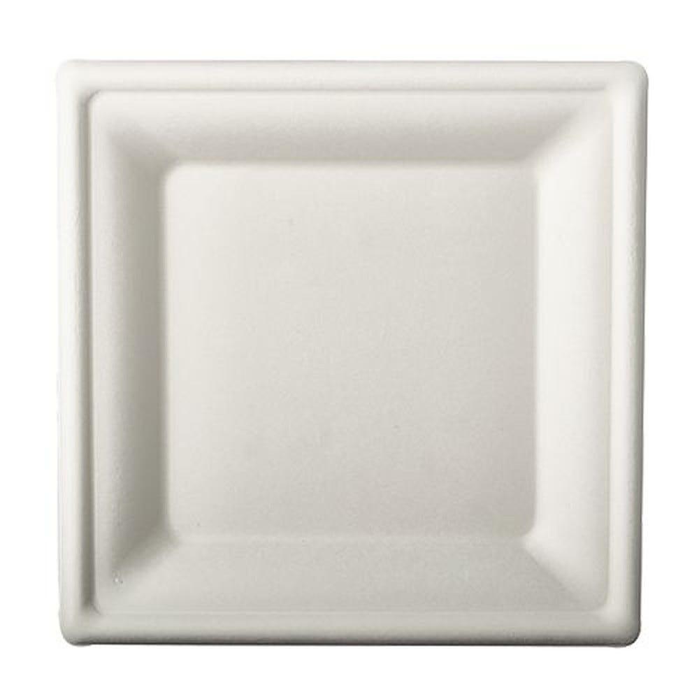 Assiette en canne à sucre ''pure'' carrée 20 cm x 20 cm blanc par 100