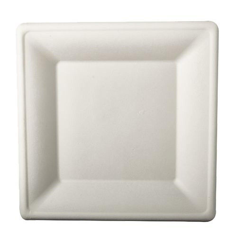 Assiette en canne à sucre ''pure'' carrée 26 cm x 26 cm blanc par 100