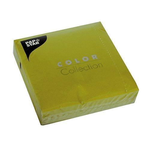 Serviette 3 plis pliage 1/4 33 cm x 33 cm vert olive par 700