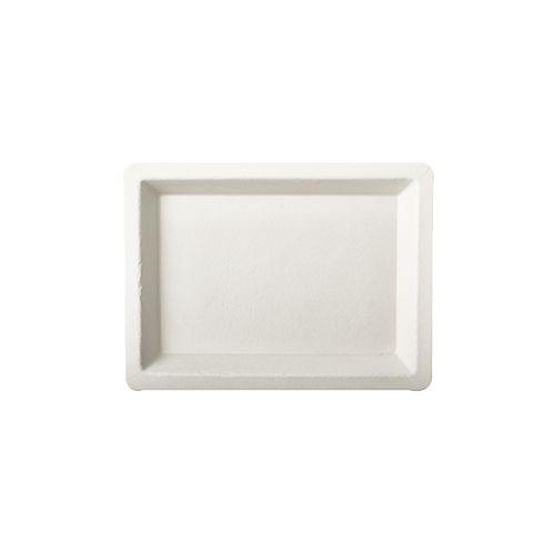 Assiette en canne à sucre ''pure'' rectangulaire 10 cm x 13,5 cm blanc par 500