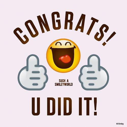Serviette 3 plis pliage 1/4 33 cm x 33 cm ''Congrats Smiley'' par 200
