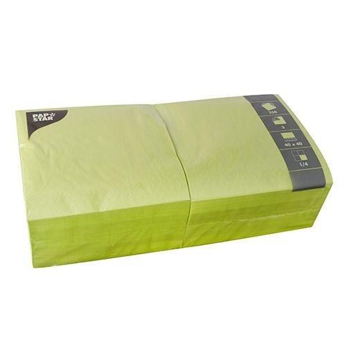 Serviette 3 plis pliage 1/4 40 cm x 40 cm vert anis par 1000