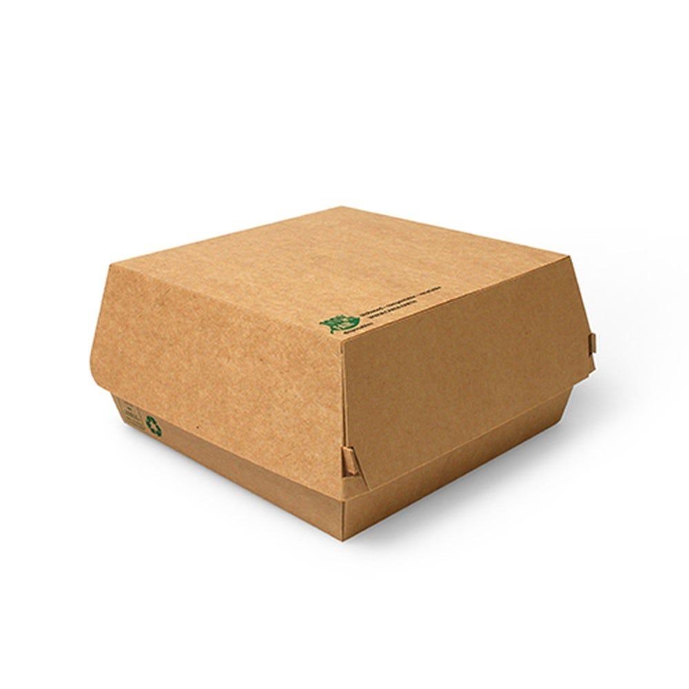 Boite à hamburger en carton fibres vierges 9 cm x 15,5 cm x 15,5 cm XXL par 225
