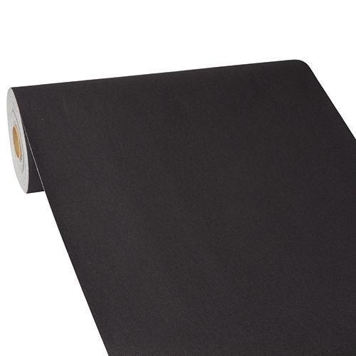 Chemin de table aspect tissu ''ROYAL Collection'' 24 m x 40 cm noir par 4