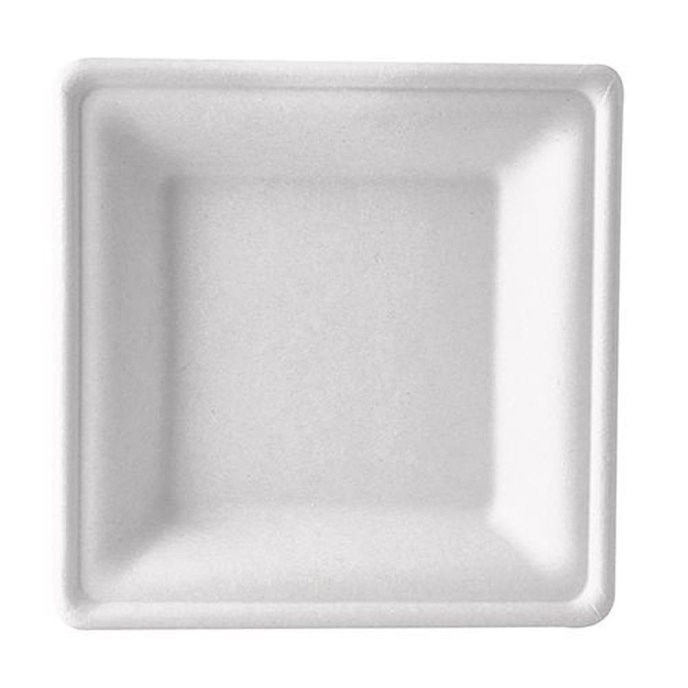 Assiette en canne à sucre ''pure'' carrée 3 cm x 20 cm x 20 cm blanc par 500