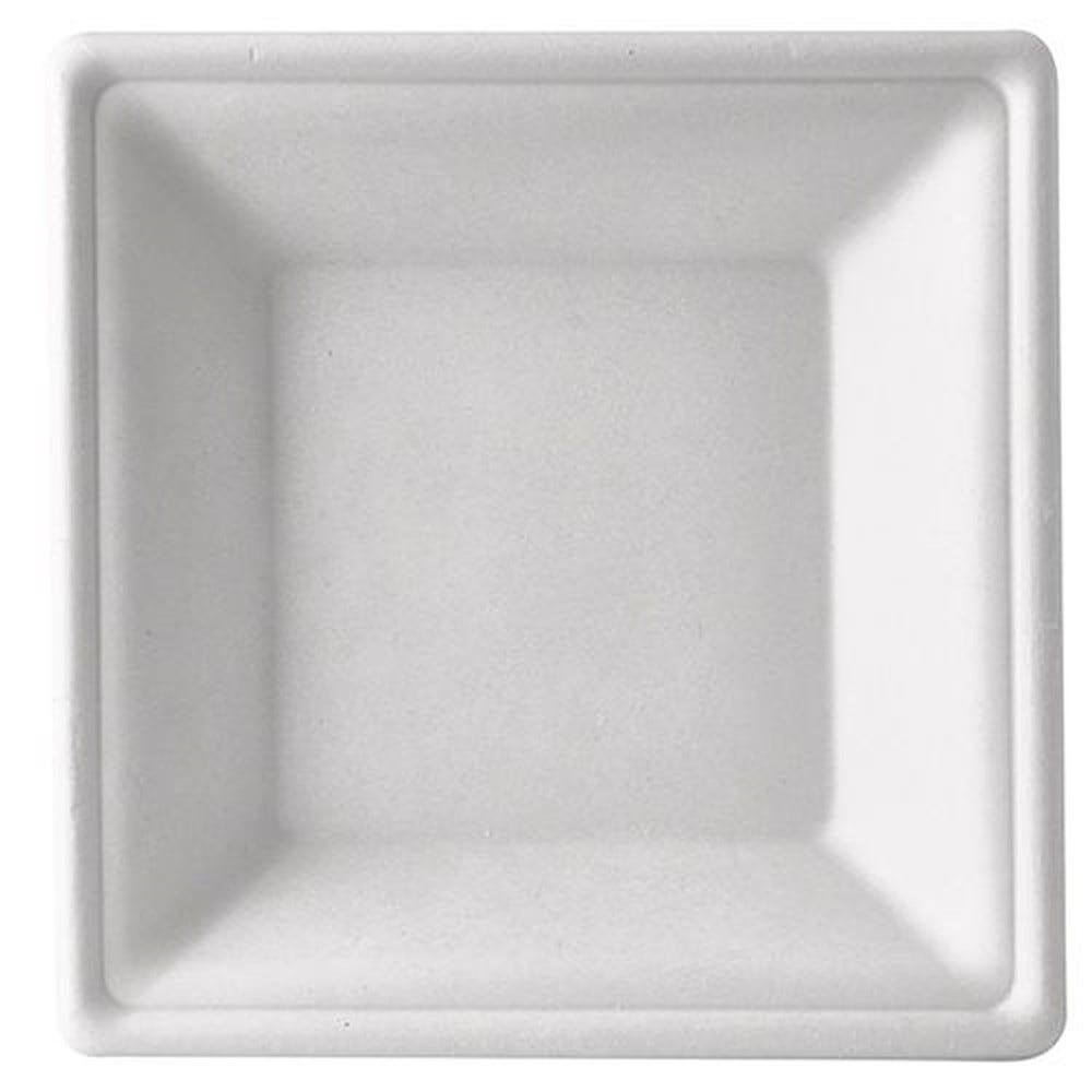 Assiette en canne à sucre ''pure'' carrée 4,5 cm x 26 cm x 26 cm blanc par 400