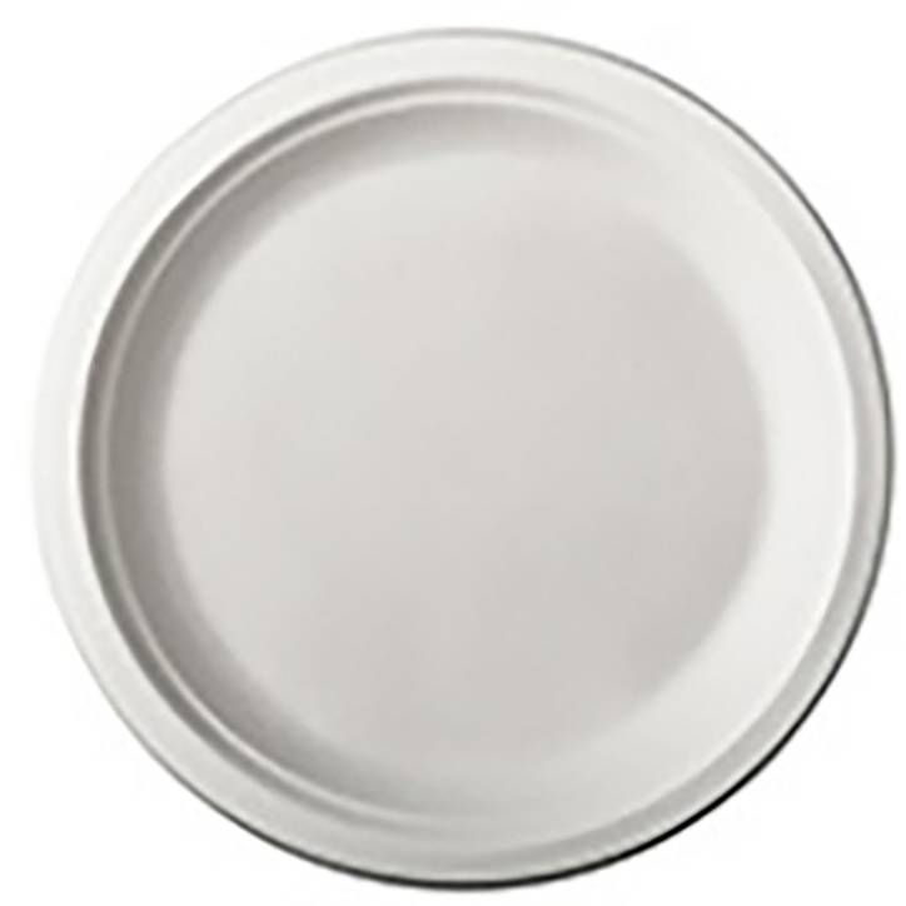 Assiette en canne à sucre ''pure'' ronde Ø 15 cm · 2 cm blanc par 500