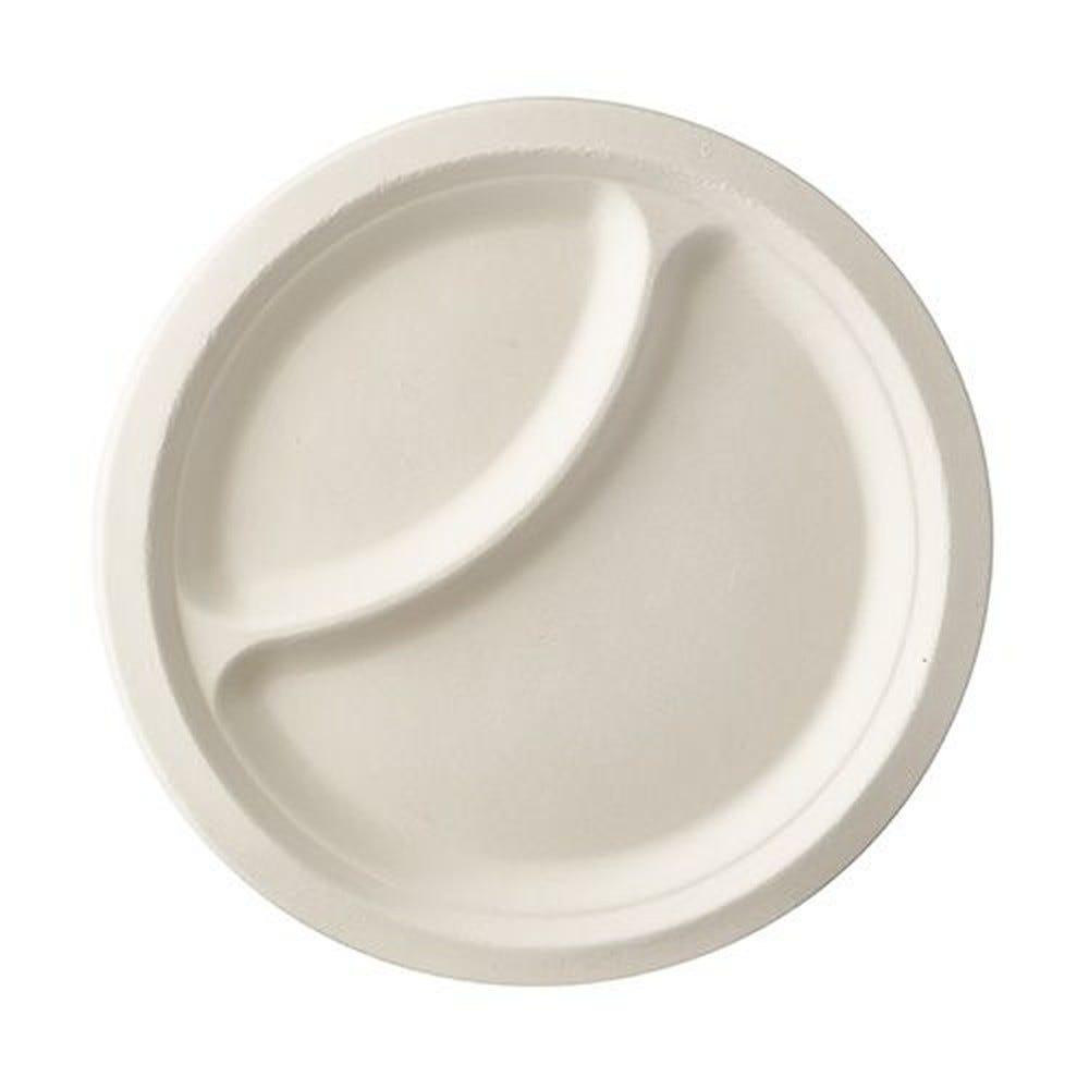 Assiette en canne à sucre ''pure'' 2 compartiments Ø 23 cm · 2 cm blanc par 500