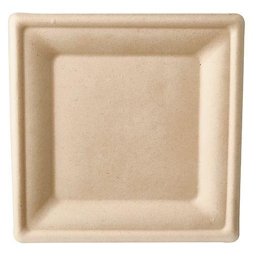 Assiette en canne à sucre ''pure'' carrée 20 cm x 20 cm naturel par 500
