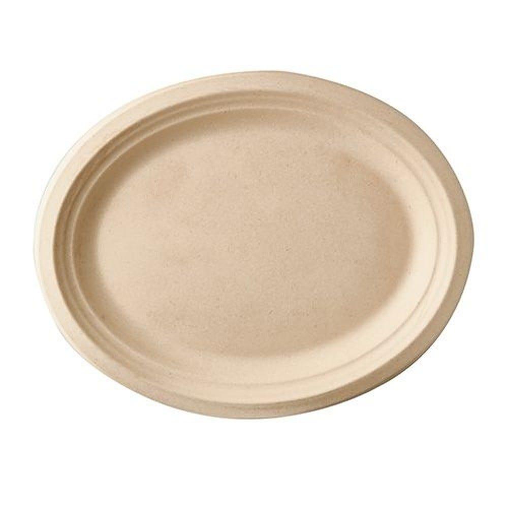 Assiette en canne à sucre ''pure'' ovale 32 cm x 25,5 cm x 2 cm naturel par 500