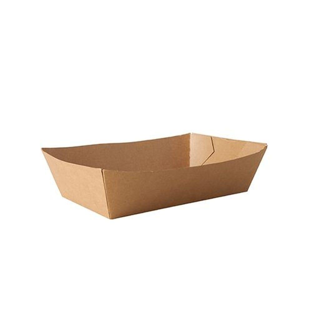 Barquette snack en carton fibres vierges 5,3 cm x 10 cm x 16,7 cm marron par 500