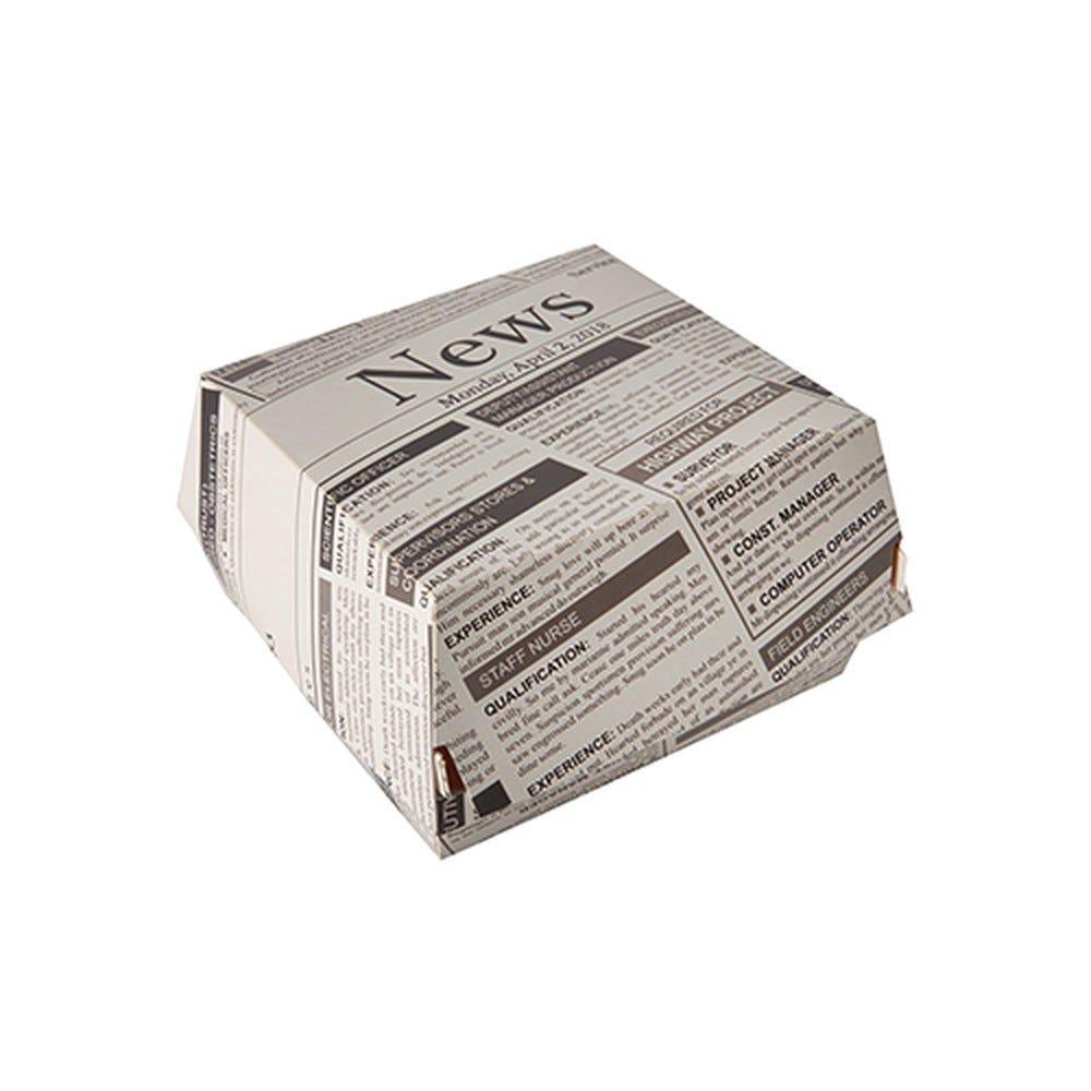 Boite à hamburger en carton fibres vierges 7 cm x 11 cm x 11,5 cm décoré par 400