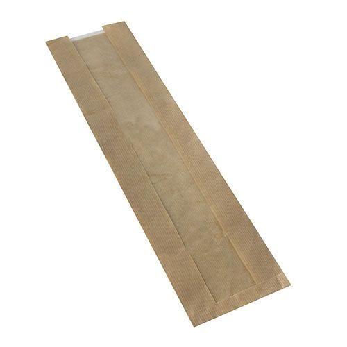 Sac à baguettes avec fenêtre en PLA 58 cm x 12 cm x 5 cm marron par 1000