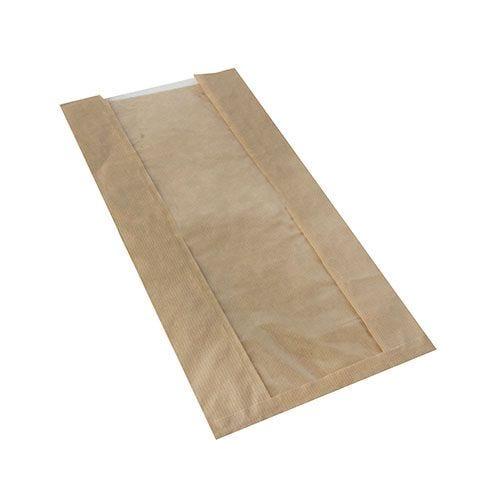 Sac pour pâtisserie avec fenêtre en PLA 47 cm x 20 cm x 9 cm marron par 1000