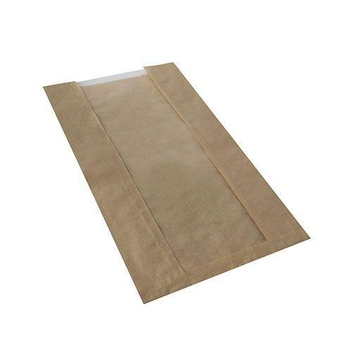 Sac pour pâtisserie avec fenêtre en PLA 38 cm x 20 cm x 9 cm marron par 1000