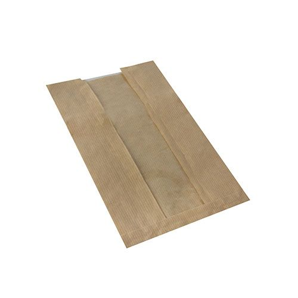 Sac pour pâtisserie avec fenêtre en PLA 30 cm x 16 cm x 6 cm marron par 1000