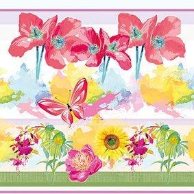 Serviette 3 plis pliage 1/4 33 cm x 33 cm ''Fleuri'' par 200