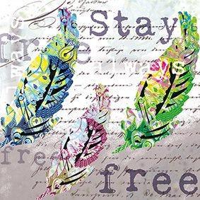 Serviette 3 plis pliage 1/4 33 cm x 33 cm ''Stay always free'' par 200