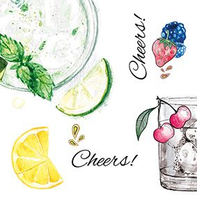Serviette 3 plis pliage 1/4 33 cm x 33 cm ''Fruity Cheers!'' par 200