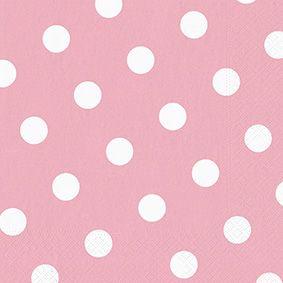 Serviette 3 plis pliage 1/4 40 cm x 40 cm rose clair ''Dots'' par 200