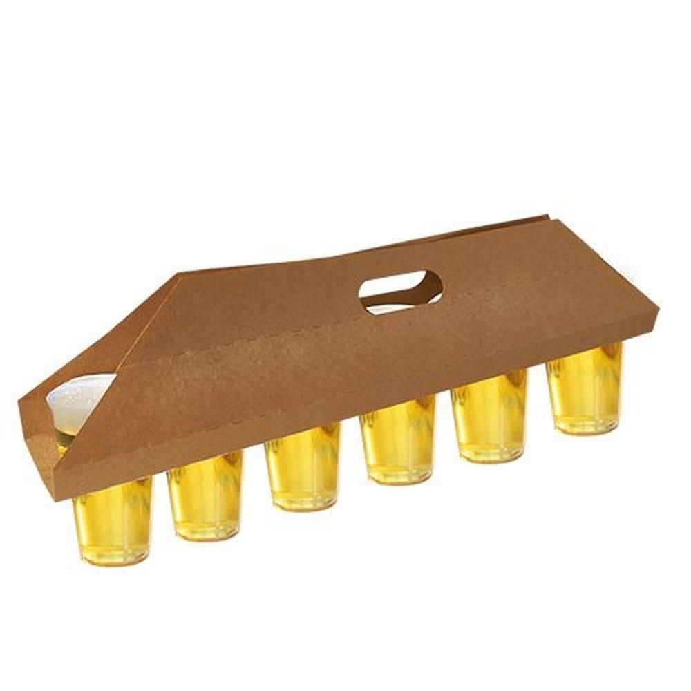 Plateau en carton 12 cm x 9,5 cm x 62 cm marron pour 6 gobelets par 150
