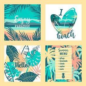 Serviette 3 plis pliage 1/4 33 cm x 33 cm ''Exotic Paradise'' par 200
