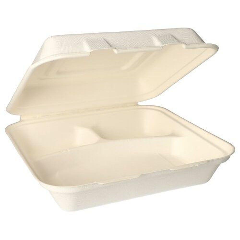 Boîte Menu en sucre de canne 3 compartiments 8 cm x 24 cm x 24 cm blanc par 300