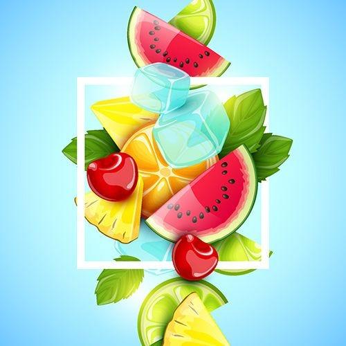Serviette 3 plis pliage 1/4 33 cm x 33 cm ''Brochette de Fruits'' par 240