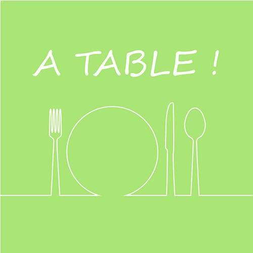 Serviette 3 plis pliage 1/4 33 cm x 33 cm vert ''A Table'' par 240