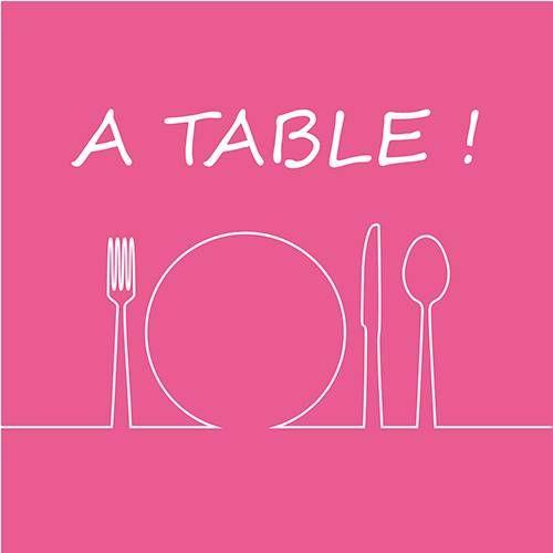 Serviette 3 plis pliage 1/4 33 cm x 33 cm fuchsia ''A Table'' par 240
