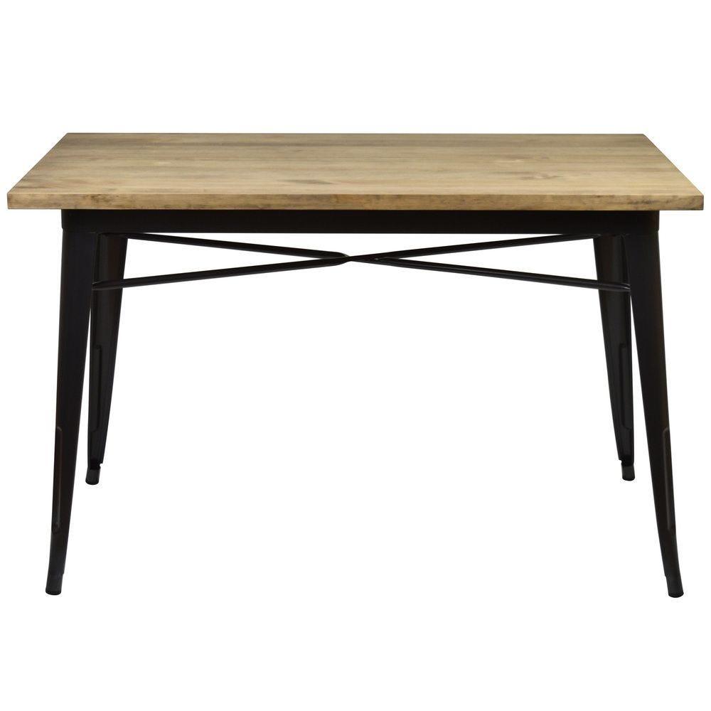 Table à manger Tudix Vintage Industriel. 60X115x75cm 18mm. Gunmetal.