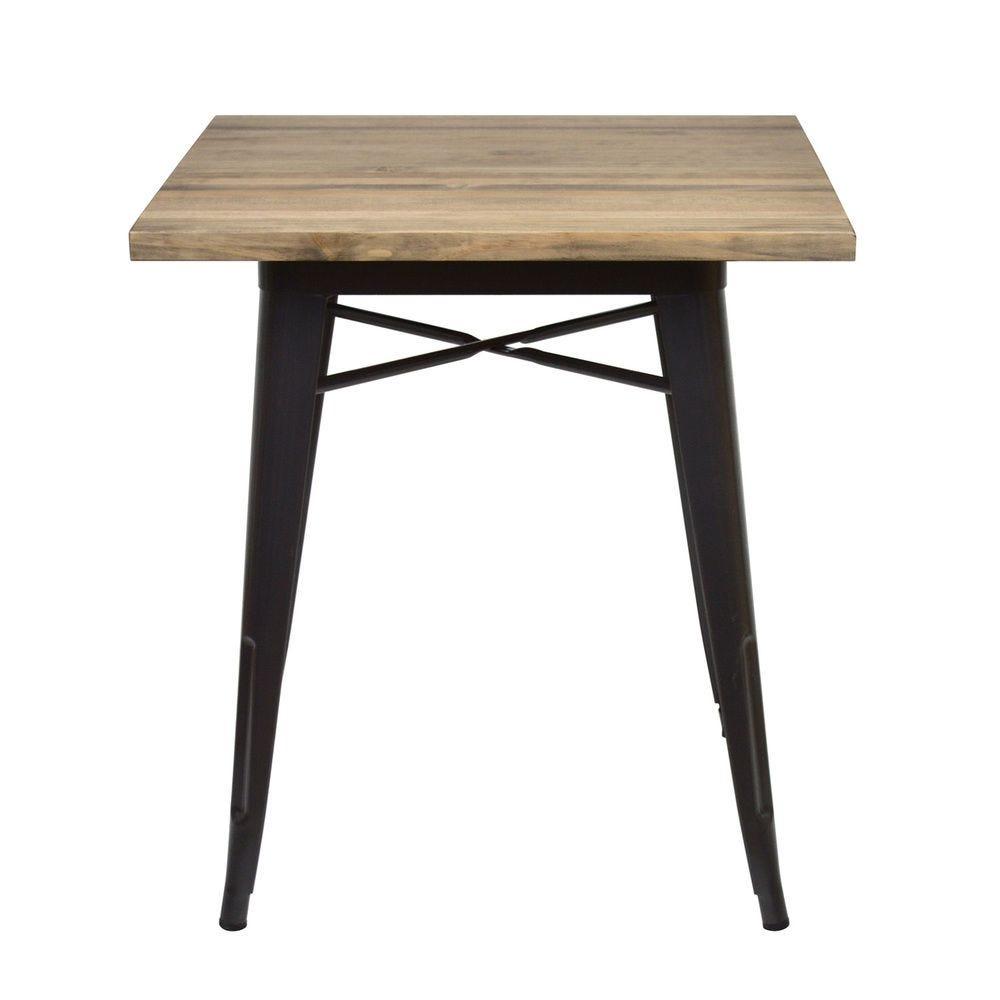 Table à manger Tudix Vintage Industriel. 70X70x75cm 18mm. Gunmetal.