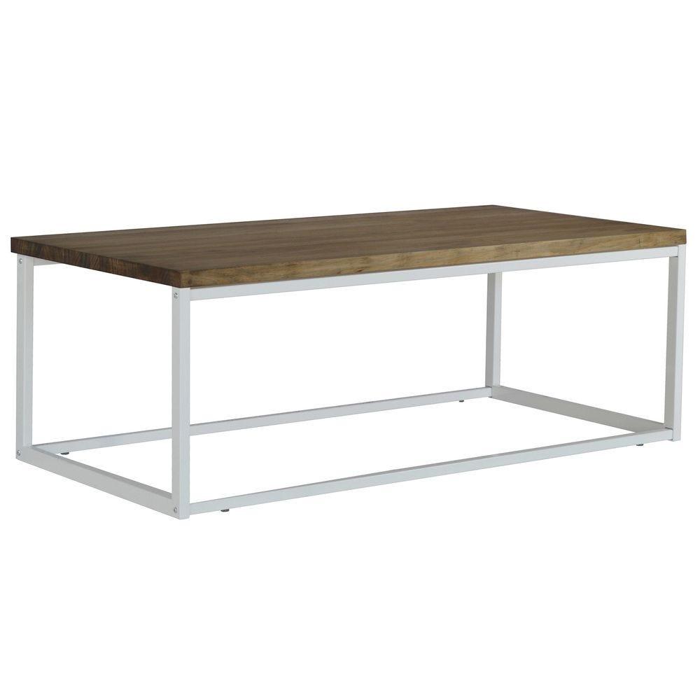Table basse Icub U. 60x100x43 cm. Blanc. Style industriel vintage