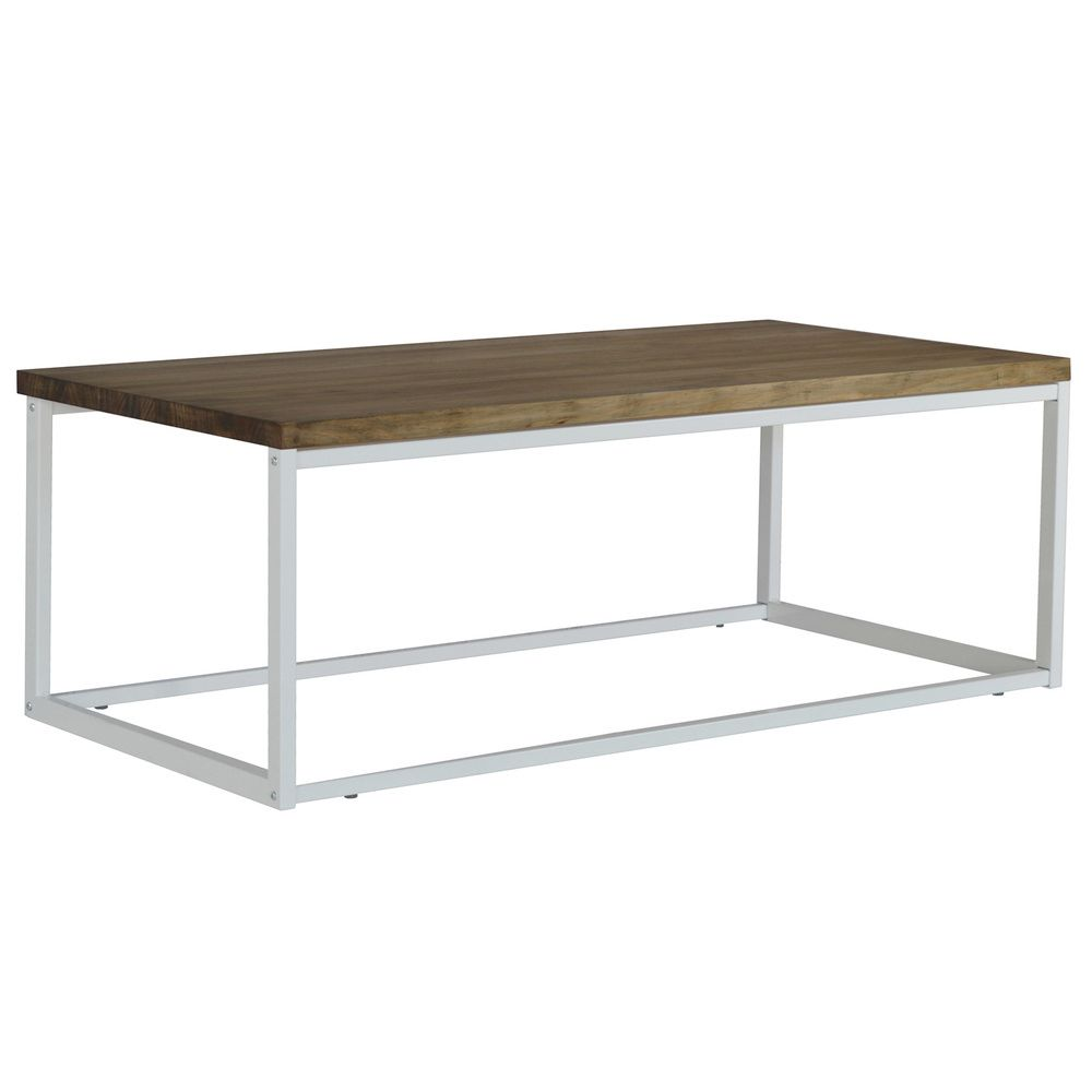 Table basse Icub U. 60x80x43 cm. Blanc. Style industriel vintage