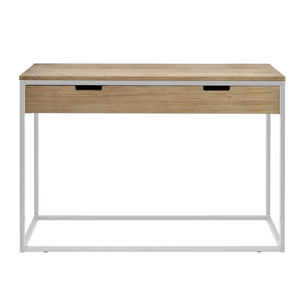 Table  d'entree – Console avec tiroir Icub  40x120x82 cm. Blanc.