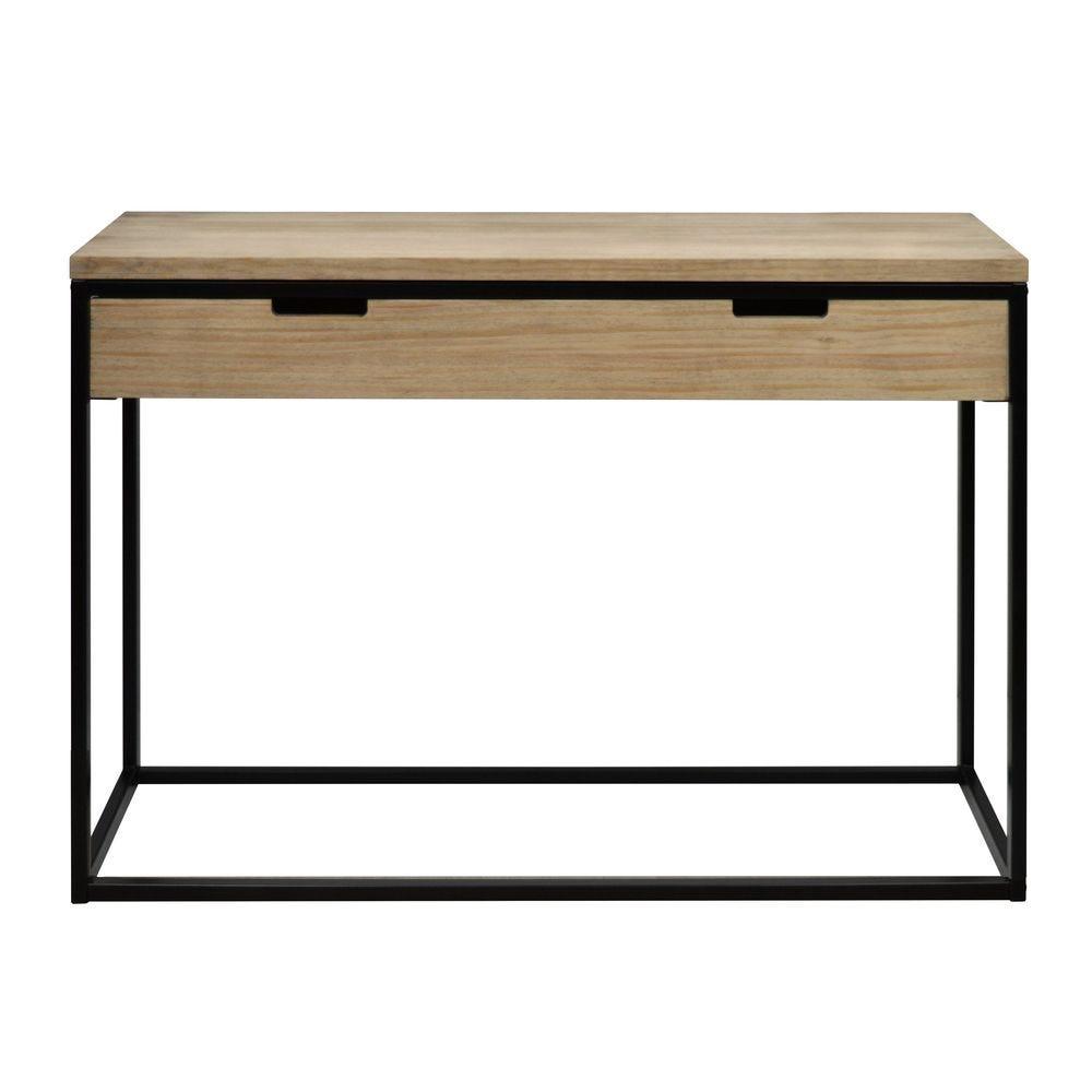 Table  d'entree – Console avec tiroir Icub  40x120x82 cm. Noir.