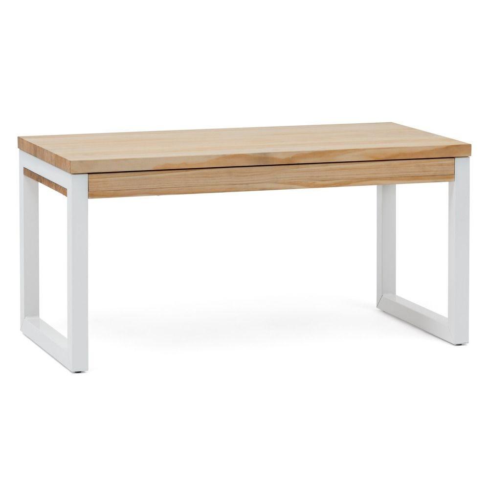 Table basse relevable iCub Strong ECO 50x120x52 cm Blanc Naturel