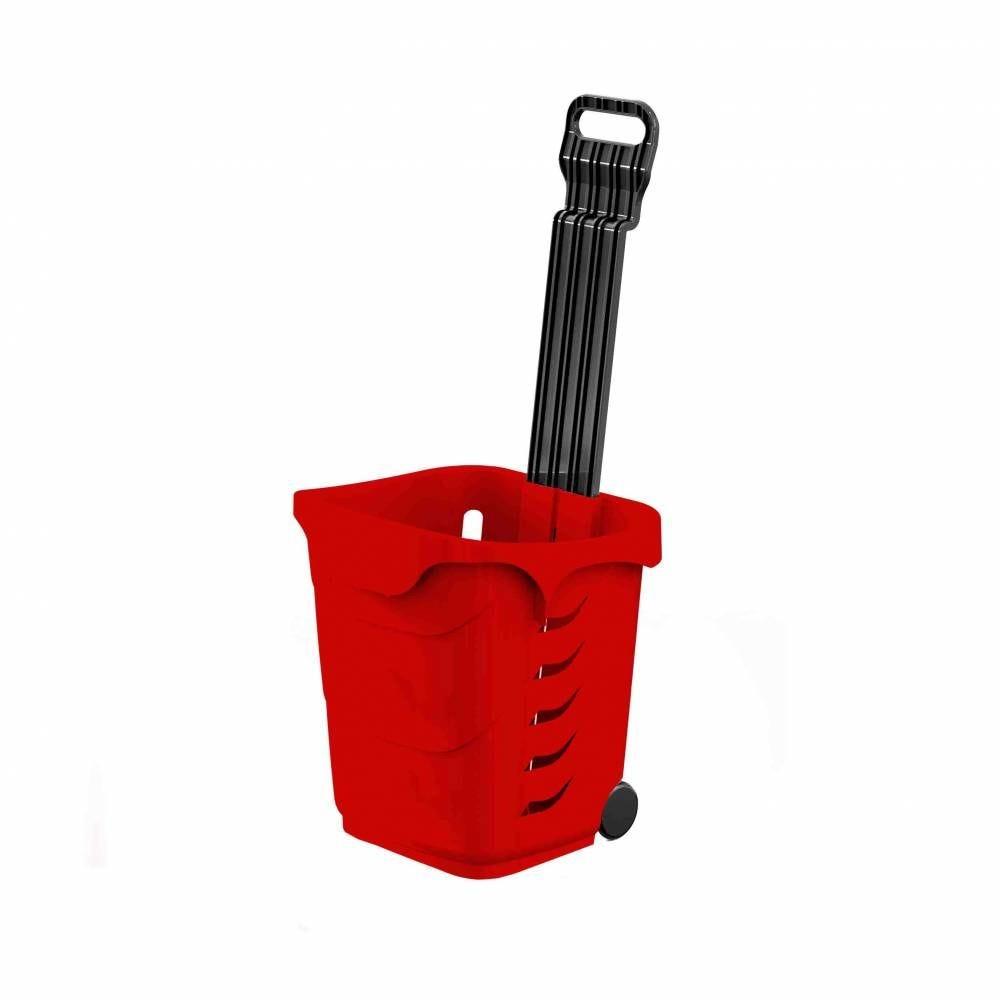 Panier 38L 2 roues rouge clair RAL3020 - Par 25