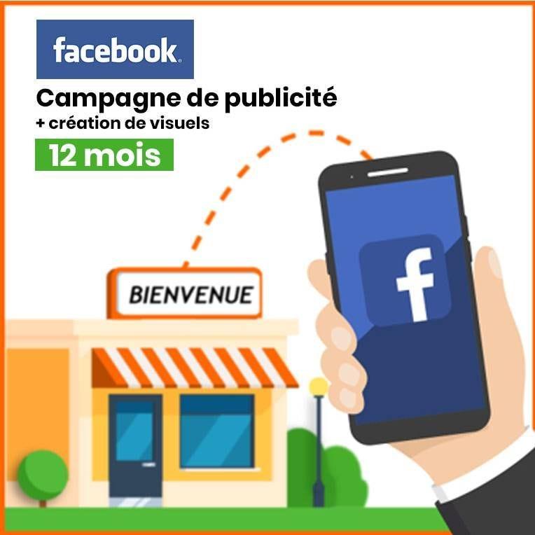 Publicité locale Facebook & Instagram avec création de 3 visuels - Pack 12 mois