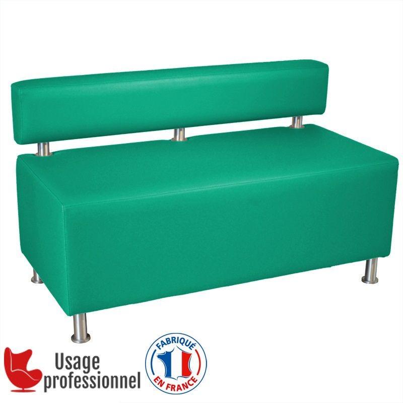 Banquette DESIGN - CAPUCINE Bleu turquoise - Dossier rapporté - Pieds alu brossé