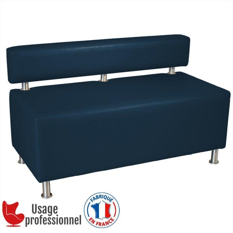 Banquette DESIGN - CAPUCINE Bleu marine - Dossier rapporté - Pieds alu brossé (photo)
