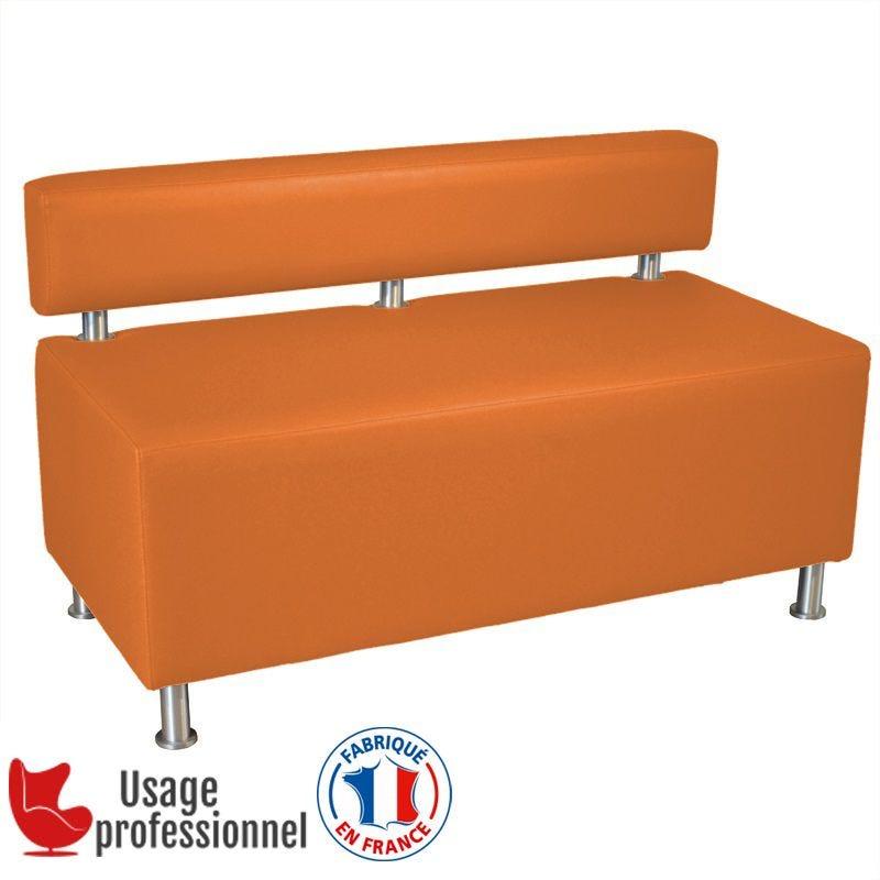 Banquette DESIGN - CAPUCINE Orange brique - Dossier rapporté - Pieds alu brossé (photo)