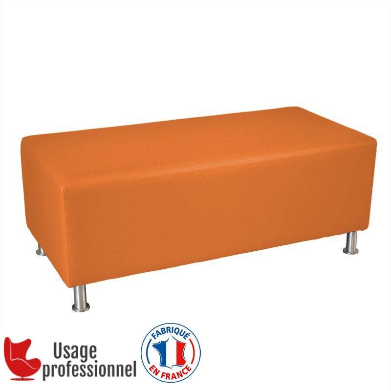 Banc DESIGN - CAPUCINE Orange brique - Pieds alu brossé (photo)