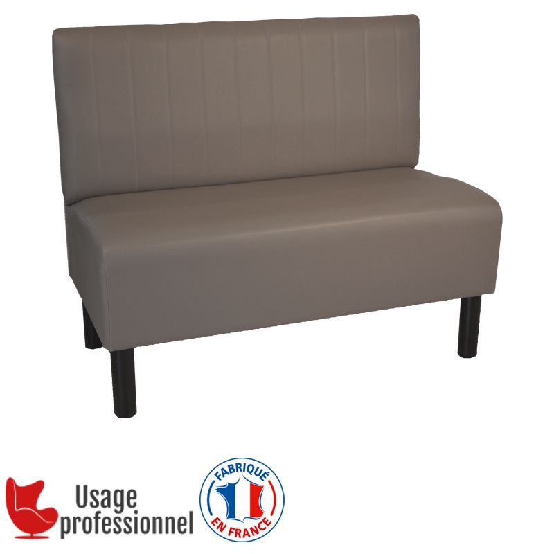 Banquette style BISTROT - COUNTRY taupe - Piqure sur dossier (photo)