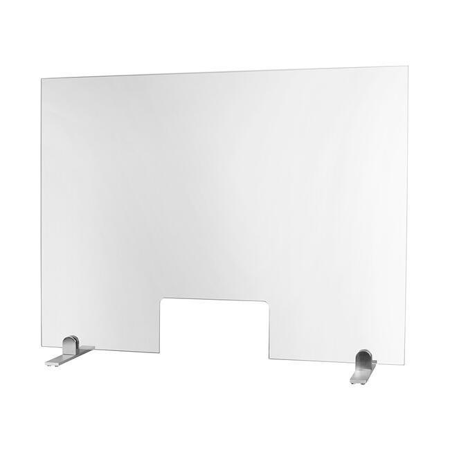 Hygiaphone en verre ESG 100x75 cm - avec pied plastique et ouverture de 30x15 cm