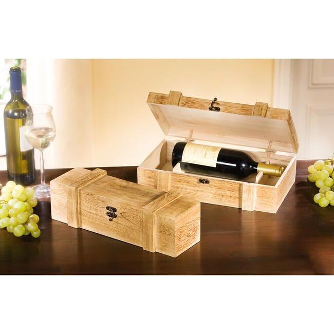 Coffret bois 'Rustikal' - Bois – pour 2 bouteilles – 36 x 12 x 11 cm