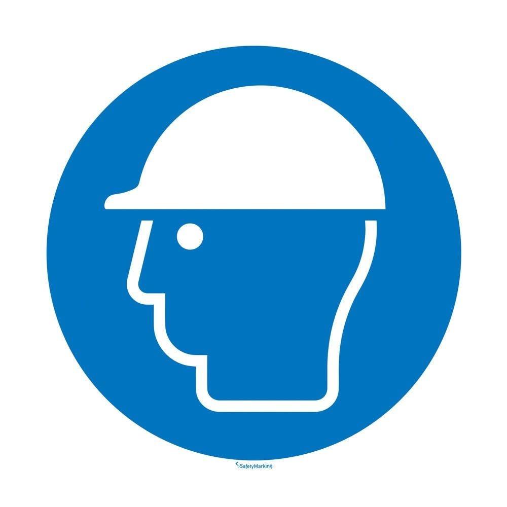 Port du casque obligatoire aluminium gaufré 100 mm - par 5