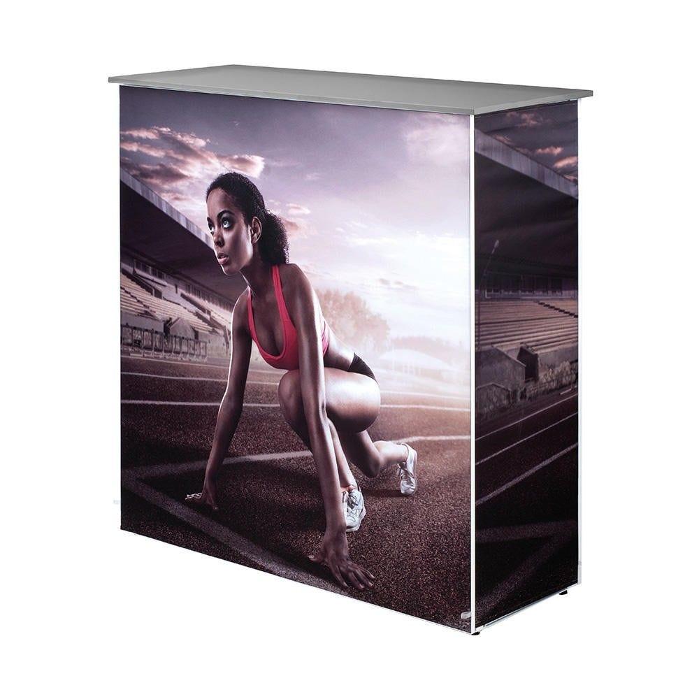 Comptoir d'accueil imprimé pop-up ''stretch'' argent (photo)