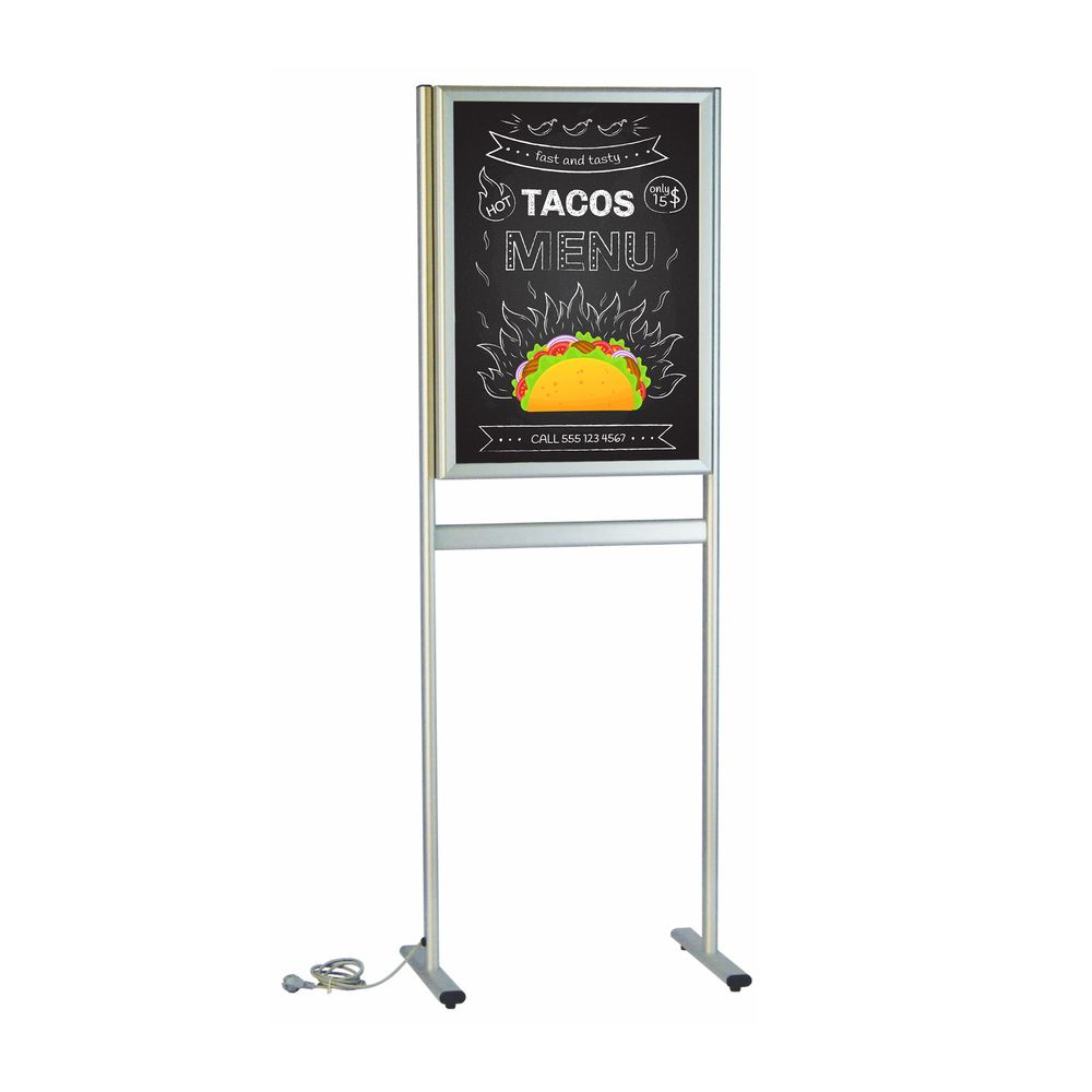 Porte-affiche lumineux standard sur pieds double-face A1
